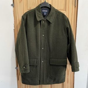 Lands' End Loden Wool Coat XL Mens Overcoat